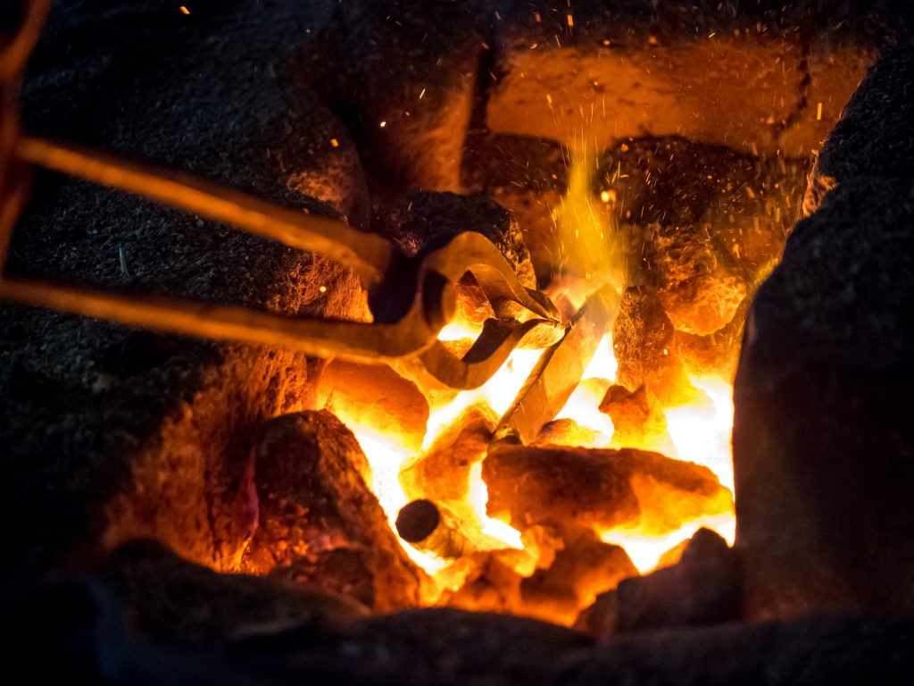 Blazing furnace at the blacksmith's